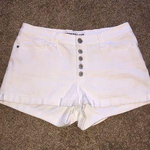 Express white denim shorts!